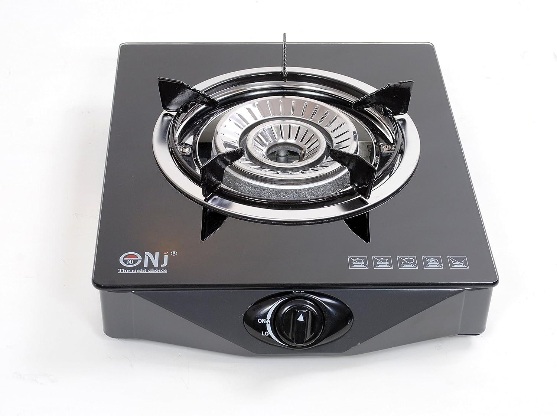 NJ NGB-S1 Estufa de gas de vidrio templado 1 hornilla Cocina de gas con dispositivo de seguridad Uso de GLP