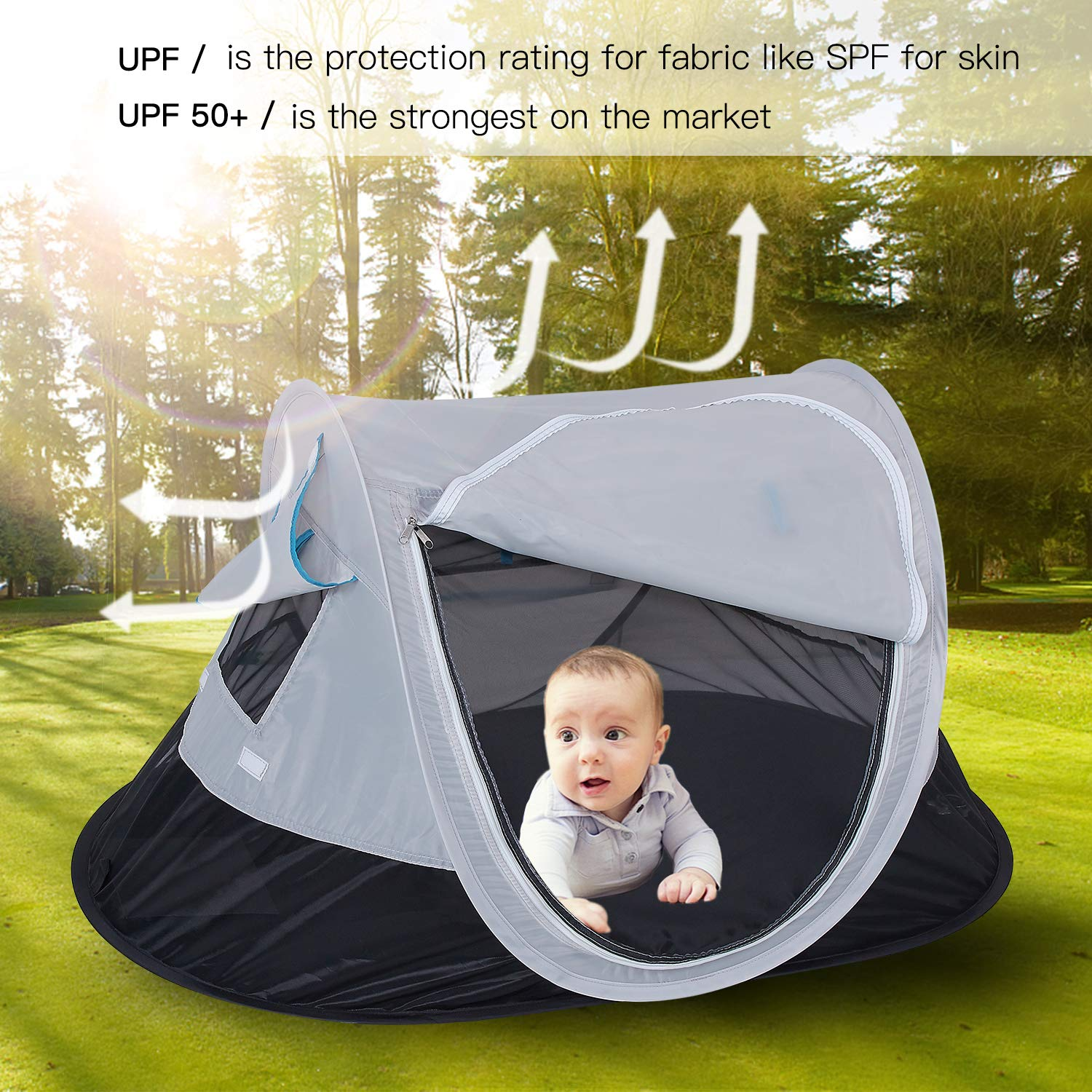 SHDIBA Portable Travel Pop up Baby Tent, Large Beach Sun Shelter Infant Tent, UPF 50+, Baby Sleep Outdoor Camping Mosquito Tent by SHDIBA (Image #6)