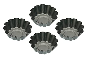 6cm Set Of 4 Non-stick Mini Fluted Flan Tart Tins