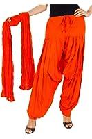 Kurti Studio Women Orange Semi Patiala Salwar with Dupatta