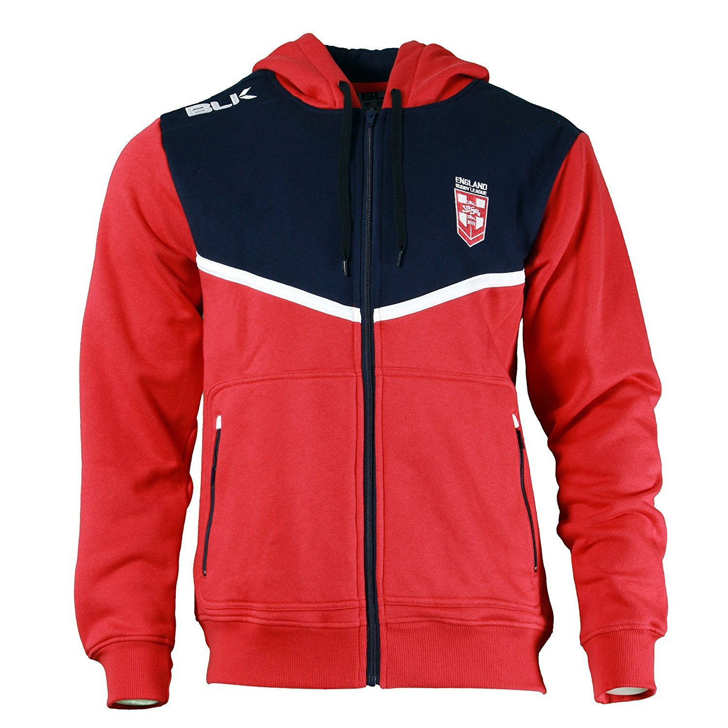 BLK England Rugby League Junior Full Zip Hoodie Red