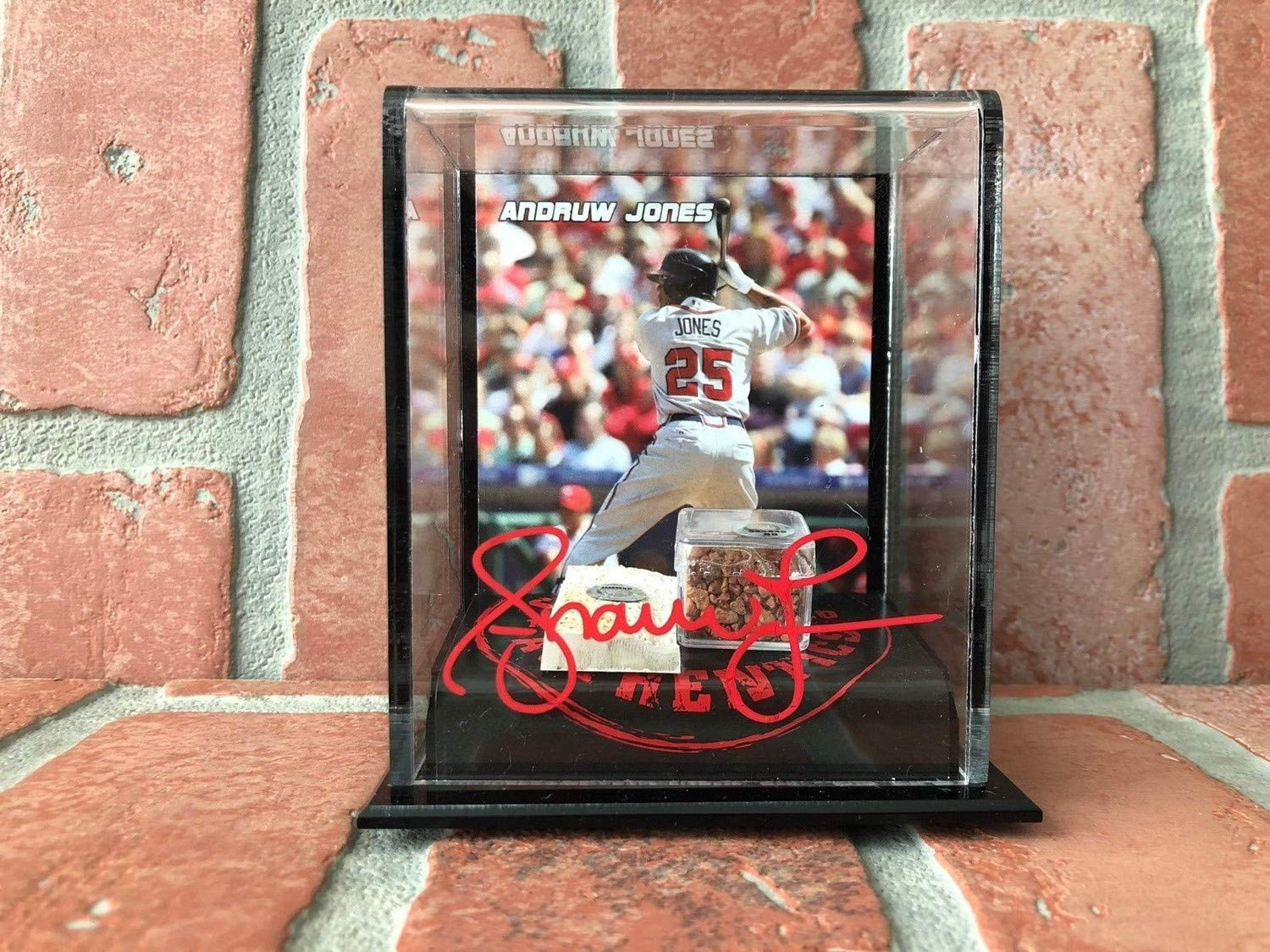 Andruw Jones Autographed Autographed Signed Authentic Dirt/Base Stand MLB Atlanta Braves PSA/DNA