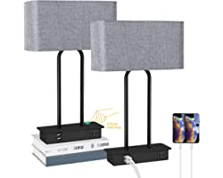 Set of 2 Touch Control 3-Way Dimmable Table Lamp with 2 USB Ports &1 AC Outlet, Modern Bedside Nightstand Lamps with Fabric S