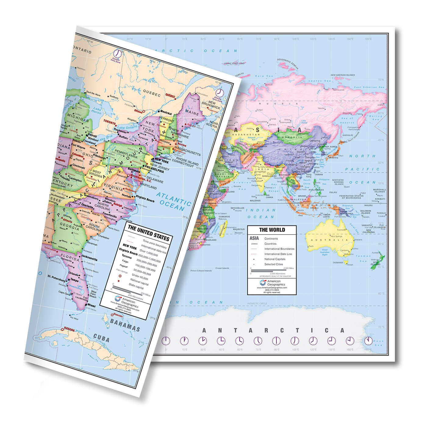 Amazoncom US And World Desk Map X Laminated For - Cincinnati in us map