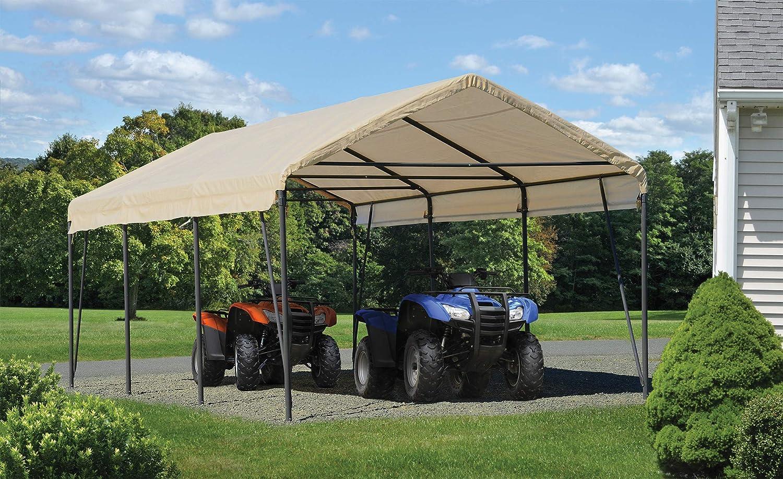Amazon.com : ShelterLogic Carport-in-a-Box, Sandstone/Brown, 12 x 20 x 9 ft. : Garden & Outdoor