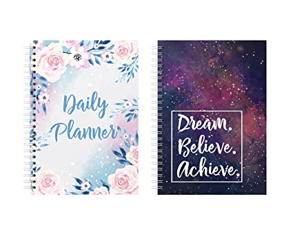 Lauret Blanc Combo Daily Planner and Organizer, Schedule Your Day, Achieve  Goals, to Do Lists, Affirmation and Gratitude Journal- A5, 160 Pages Each,
