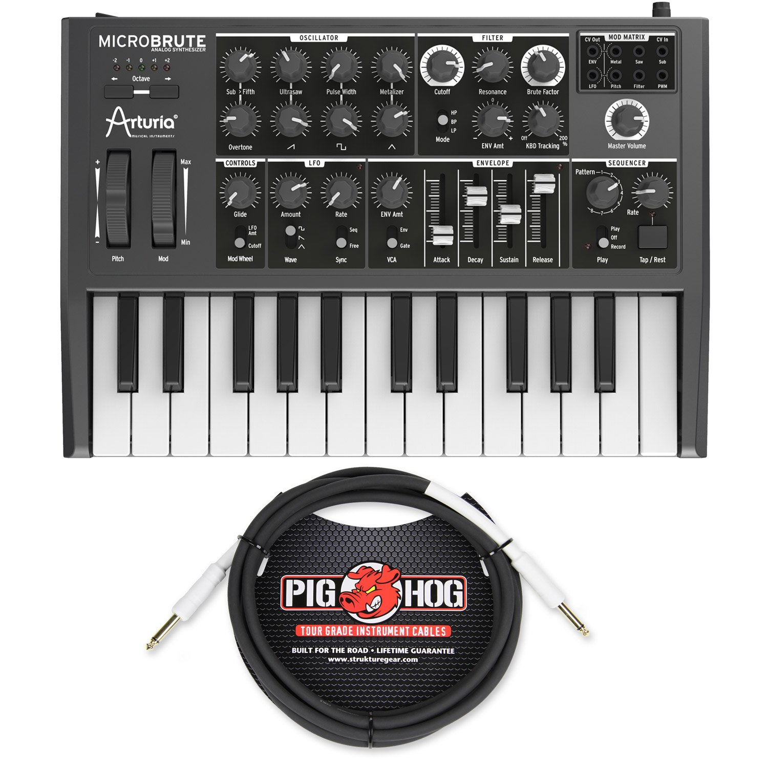 Arturia MICROBRUTE Analog Synthesizer w/ Pig Hog PH10 Instrument Cable - Bundle by Arturia