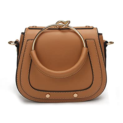 Amazon.com  Yoome Elegant Rivets Punk Style Circular Ring Handle Handbags  Messenger Crossbody Bags For Girls - Brown.Leather Handle  Shoes 38e0059abf126