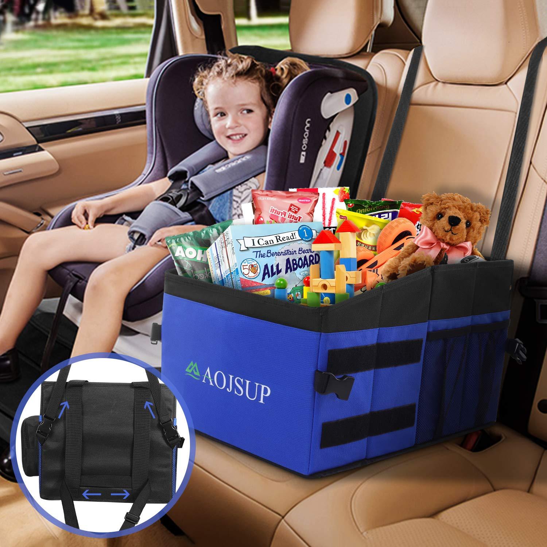 Aojsup Auto Organizer Organizer Für Vorder Und Rücksitz Sitzaufbewahrungstasche Für Erwachsene Und Kinder Mit Becherhaltern Tissue Box Gurtbefestigung Baby