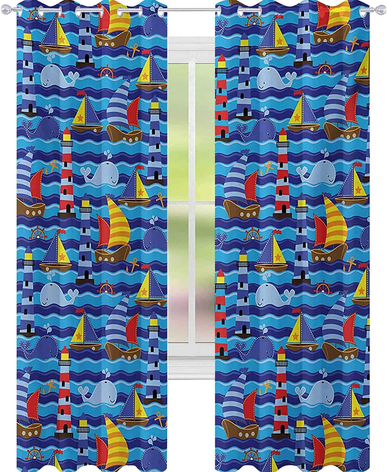 YUAZHOQI Nautical Thermal Insulating Blackout Curtain Nautical Themed Wavy Ocean Boating Yacht Dolphin Compass Lighthouse Fish 52