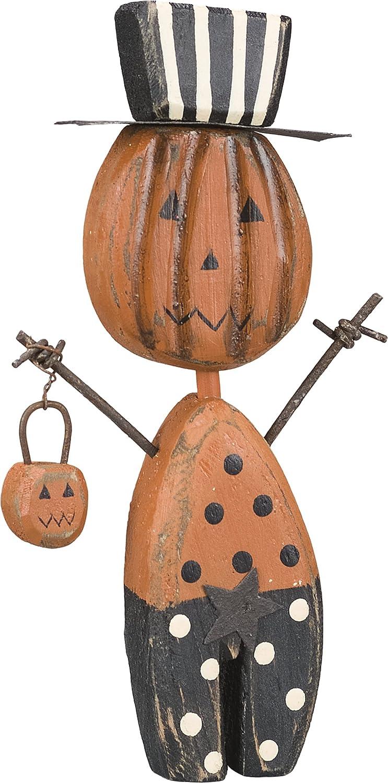 PBK Halloween Decor - Wood Prim Chunky Jack Pumpkin Sitter #21160