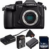 Panasonic Lumix DC-GH5 Mirrorless Micro Four Thirds Digital Camera (International Model) DC-GH5KBODY + DMW-BLF19 Lithium Ion Battery + 128GB SDXC Class 10 Memory Card + MicroFiber Cloth Bundle
