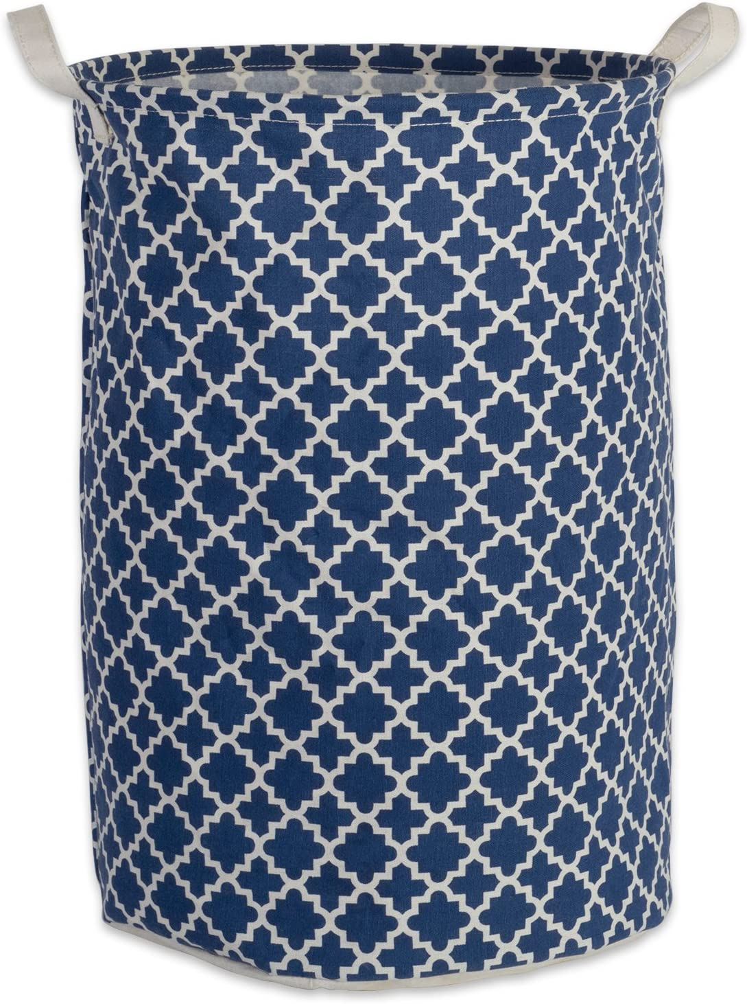 DII Cotton/Polyester PE Coated Assorted Laundry Bins, Hamper, Nautical Blue Lattice