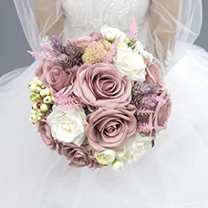 Abbie Home Bridal Wedding Bouquet - 9 inches Dusty Pink White Roses Real Touch Wedding Flower with Vintage Burlap Handle and Succulents Berries Decor (Bouquet)
