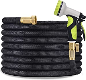 TOCZIM 100ft Flexible Garden Hose - Superior Strength 3750D, 4-Layers Latex with 3/4