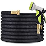 """TOCZIM 100ft Flexible Garden Hose - Superior Strength 3750D, 4-Layers Latex with 3/4"""" Solid Brass Connectors, 9 Function Spra"""