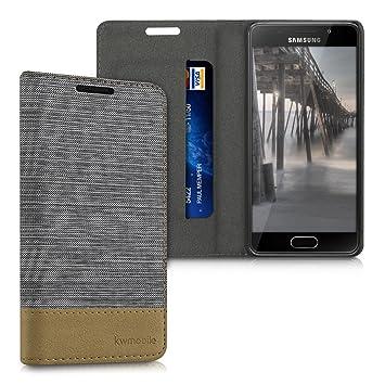 kwmobile Funda para Samsung Galaxy A3 (2016) - Carcasa de Tela y Cuero sintético - Case con Soporte en Gris Claro/marrón
