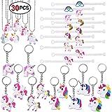 Konsait Unicornio Llavero (12pcs) Unicornio Pulsera de Silicona (12pcs) Unicornio Collar (6pcs) para piñata, fiesta unicornio, Artículos de fiesta de cumpleaños Regalo para Niños niñas