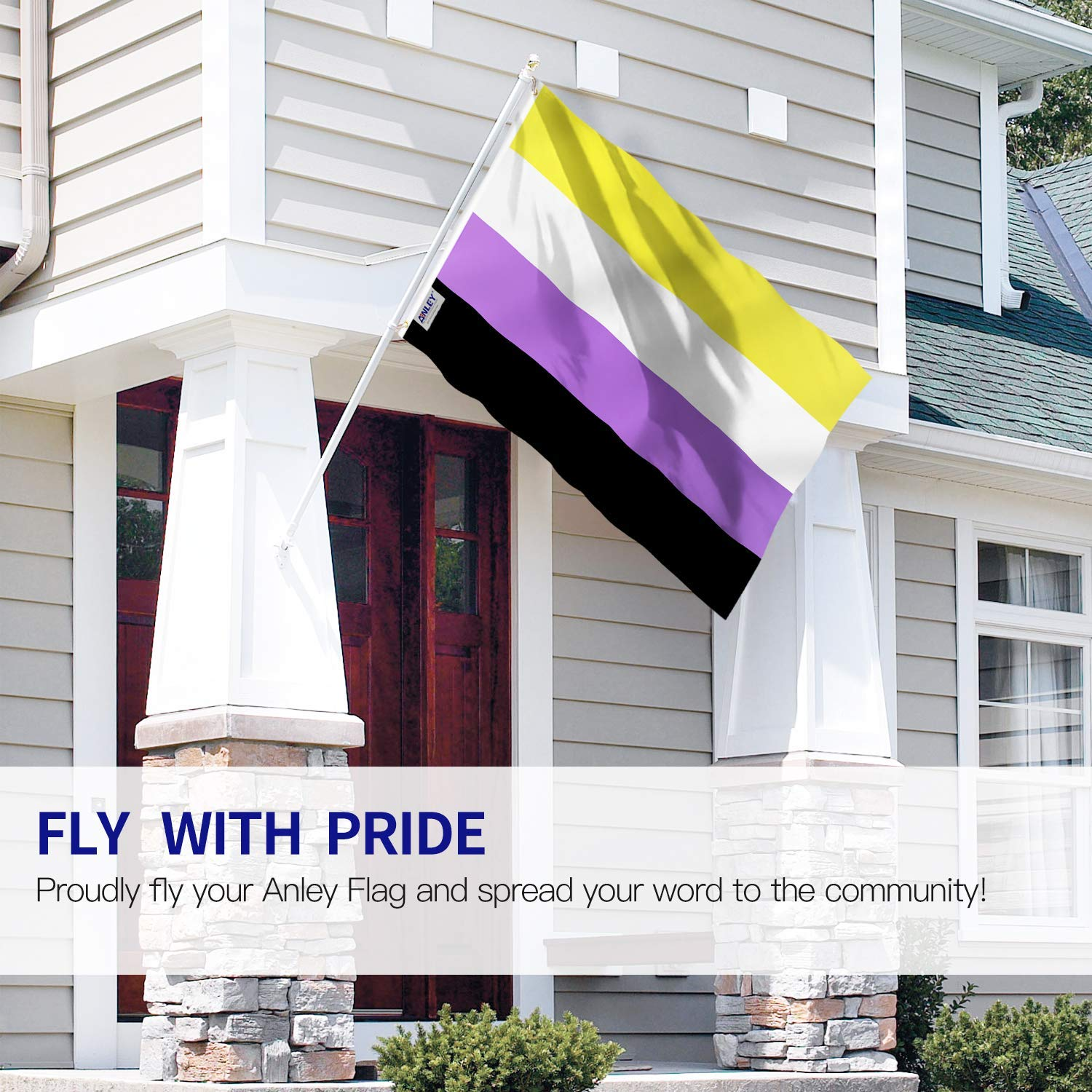 Double Stitched NB Pride Genderqueer Gender Identity Flags Polyester with Brass Grommets 3 X 5 Ft Anley Fly Breeze 3x5 Ft Non-Binary Pride Flag Vivid Color and UV Fade Resistant