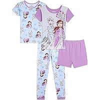 Disney Juego de Pijama de algodón de 4 Piezas de Frozen Elsa Juego de Pijama para Niñas