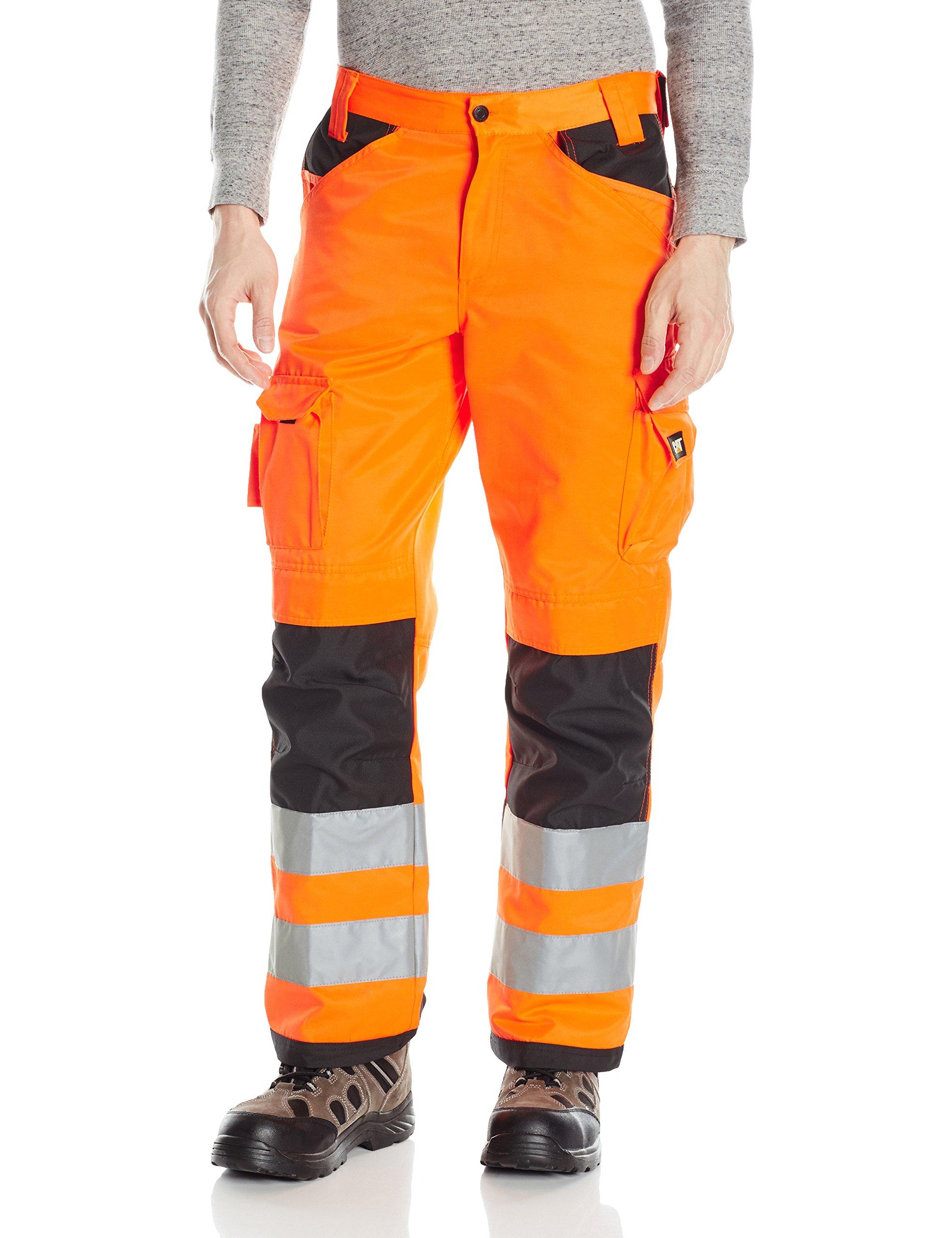 Caterpillar Men's Hi-Vis Trademark Trouser, Hi Vis Orange/B, 34/30