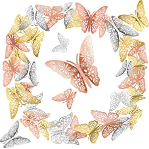 108 Pieces 3D Butterfly Wall Decals Sticker, Butterfly Wall Art Decals for DIY Home Decoration Wall Art Kids Room Bedroom Bathroom Office Wedding Party Decorations (Gold, Silver, Rose Gold)