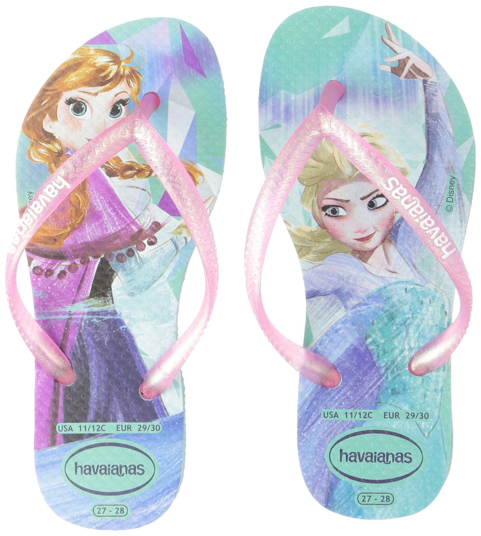 Havaianas Girls Slim Flip Flop Sandals, Kids, Frozen, Elsa & Anna,Green/Pink,25/26 BR (10 M US Toddler) by Havaianas (Image #6)