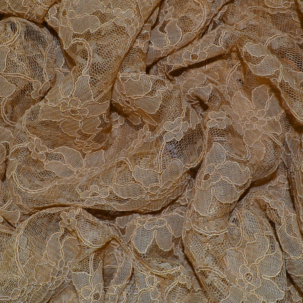Taupe Heavy Corded Lace Fabric 8866 (Col 5) SKU07477
