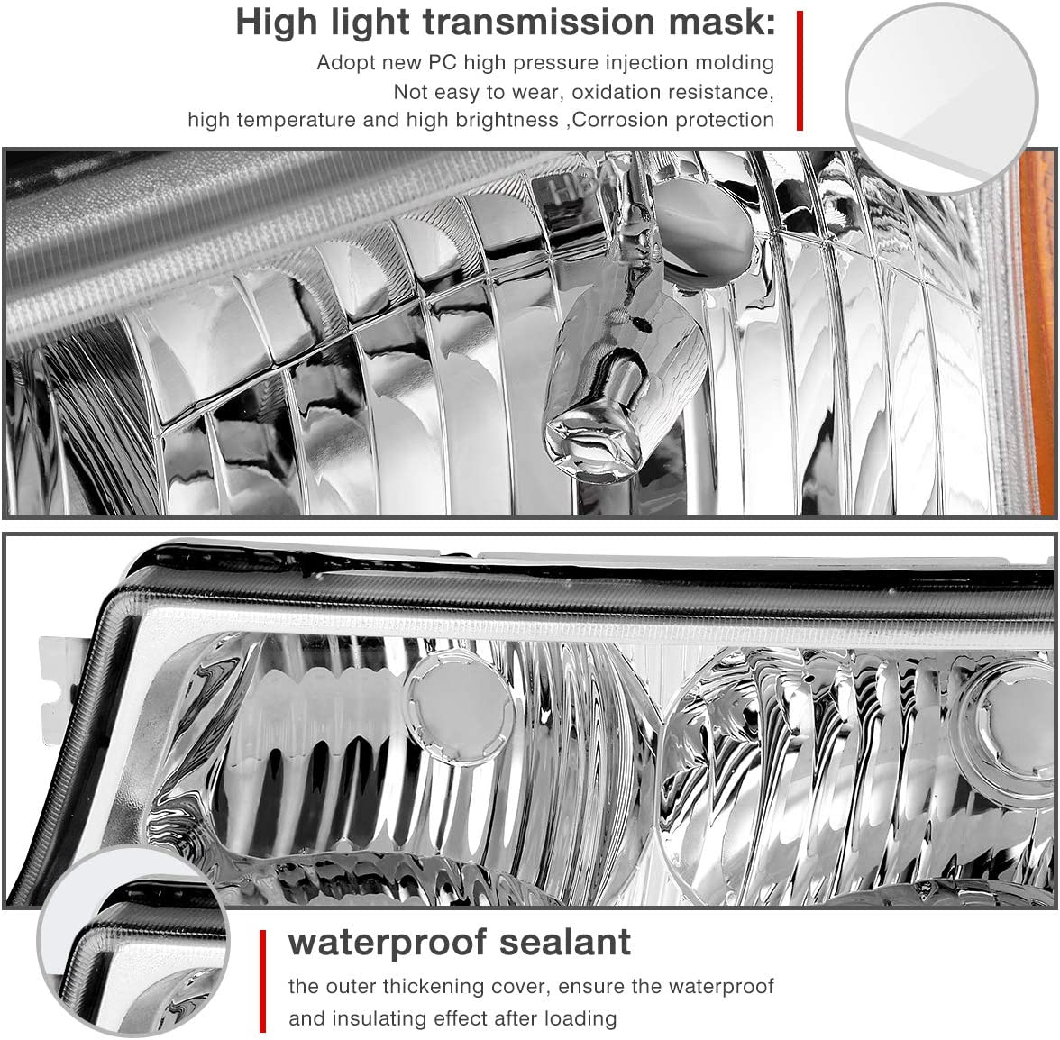 Headlight Assembly For 2003-2006 Chevy Avalanche// 2003-2007 Chevy Silverado 1500HD// 2003-2006 Chevy Silverado 2500HD Front Signal Light Included Not for Body Cladding Models