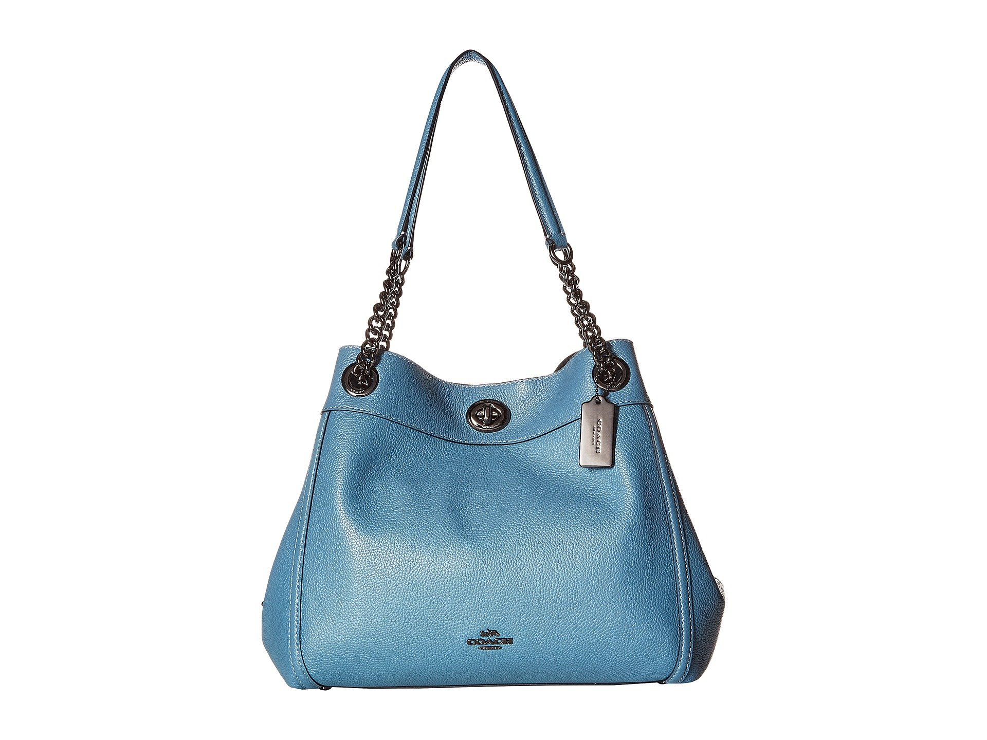 9330d7c46 COACH Women's Turnlock Edie in Polished Pebble Leather Dk/Chambray One Size