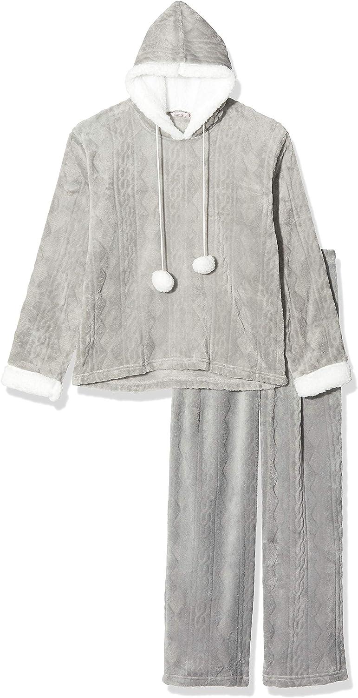 Camille lujo Gris Supersuave Fleece con capucha pijama Set
