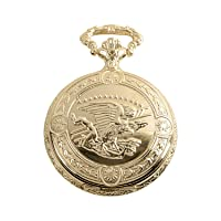 Flying Eagle Luxury Vintage Hunter Pocket Watch with Chain - Hand-Made Hunter Pocket Watch - 18k Gold Finish - Engraved Flying Eagle Design - White Dial with Black Roman Numerals