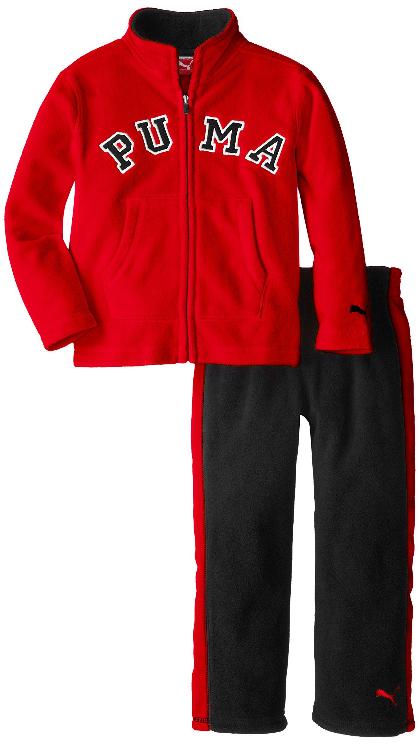 PUMA Little Boys' Colorblock Polar Fleece Set, Red, 6