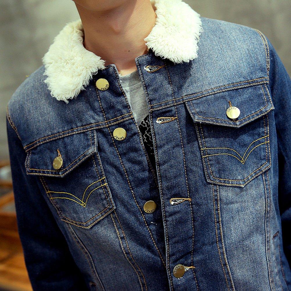 AvaCostume Mens Winter Fleece Lined Fur Collar Denim Jacket Coats