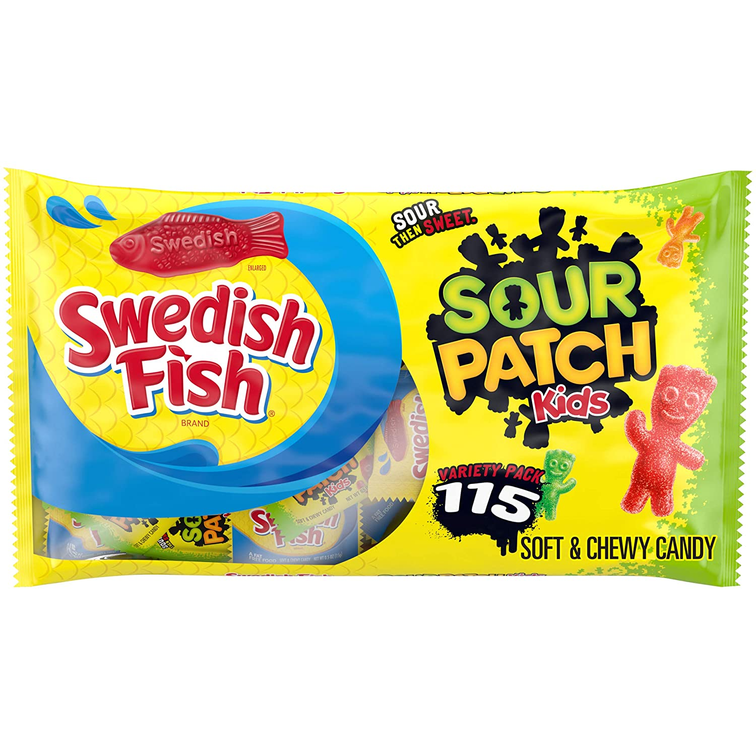 SOUR PATCH KIDS Candy and SWEDISH FISH Candy Halloween Candy Variety Pack, 1 - 115 Trick or Treat Snack Packs : Grocery & Gourmet Food