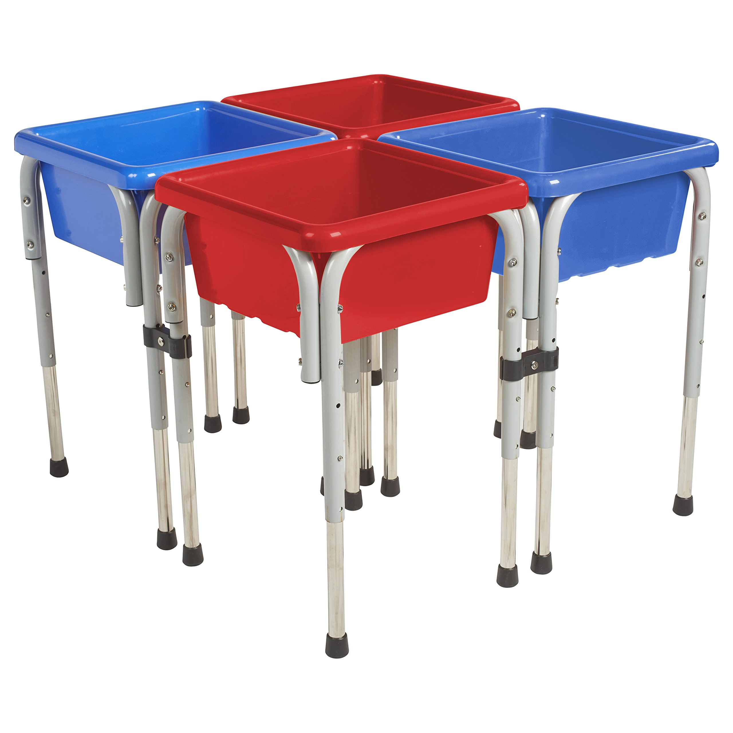 ECR4Kids Assorted Colors Sand and Water Adjustable Activity Play Table Center with Lids, Square (4-Station)
