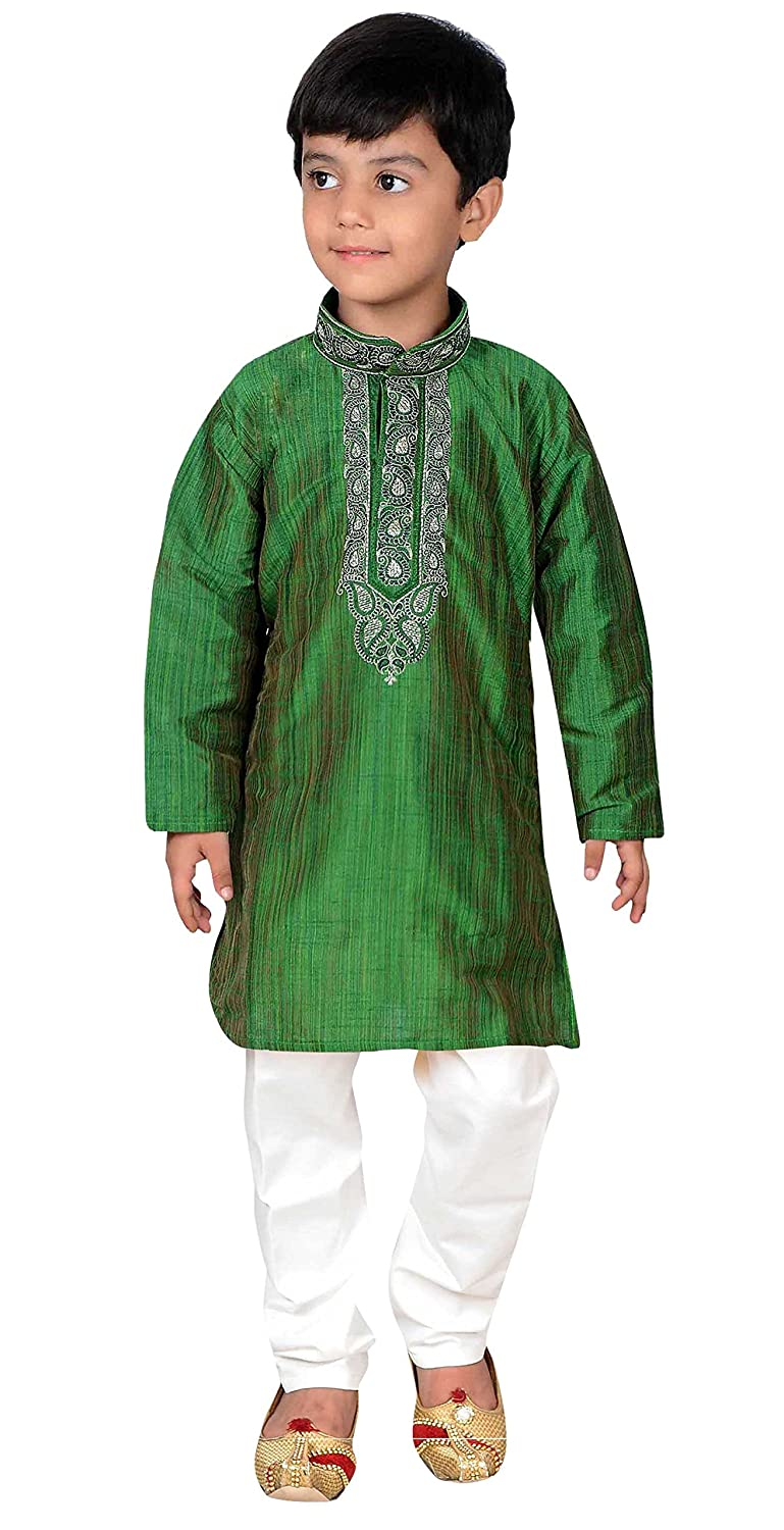 Indian Boys Sherwani Kurta Churidar Kameez for Bollywood theme kids outfit 875 Green Kurta Set - 875
