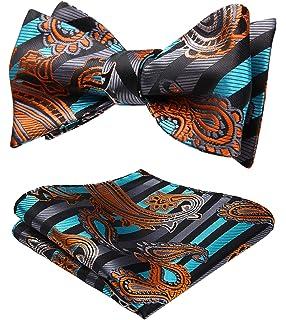 1bd5a7f4fa3d HISDERN Men's Paisley Floral Wedding Party Self Bow Tie Pocket Square Set