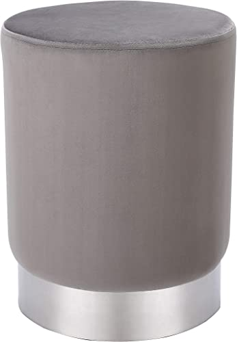 BIRDROCK HOME Round Grey Velvet Ottoman Foot Stool Soft Compact Padded Vanity Stool – Great for The Living Room, Bedroom and Kids Room – Small Furniture Grey