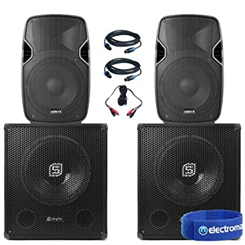 Pair Dual 15 Active Powered DJ Speakers Disco Party System
