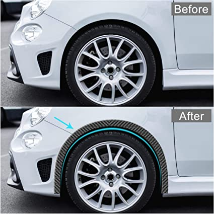 X AUTOHAUX 4pcs 5.5cm x 1.5m Car Wheel Fender Strip Extension Wheel Eyebrow Moulding Trim Protector Decoration Black