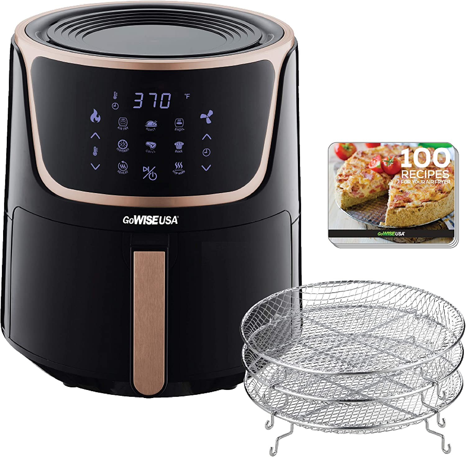 GoWISE USA GW22955 7-Quart Electric Air Fryer with Dehydrator & 3 Stackable Racks, Digital Touchscreen with 8 Functions + Recipes, 7.0-Qt, Black/Copper