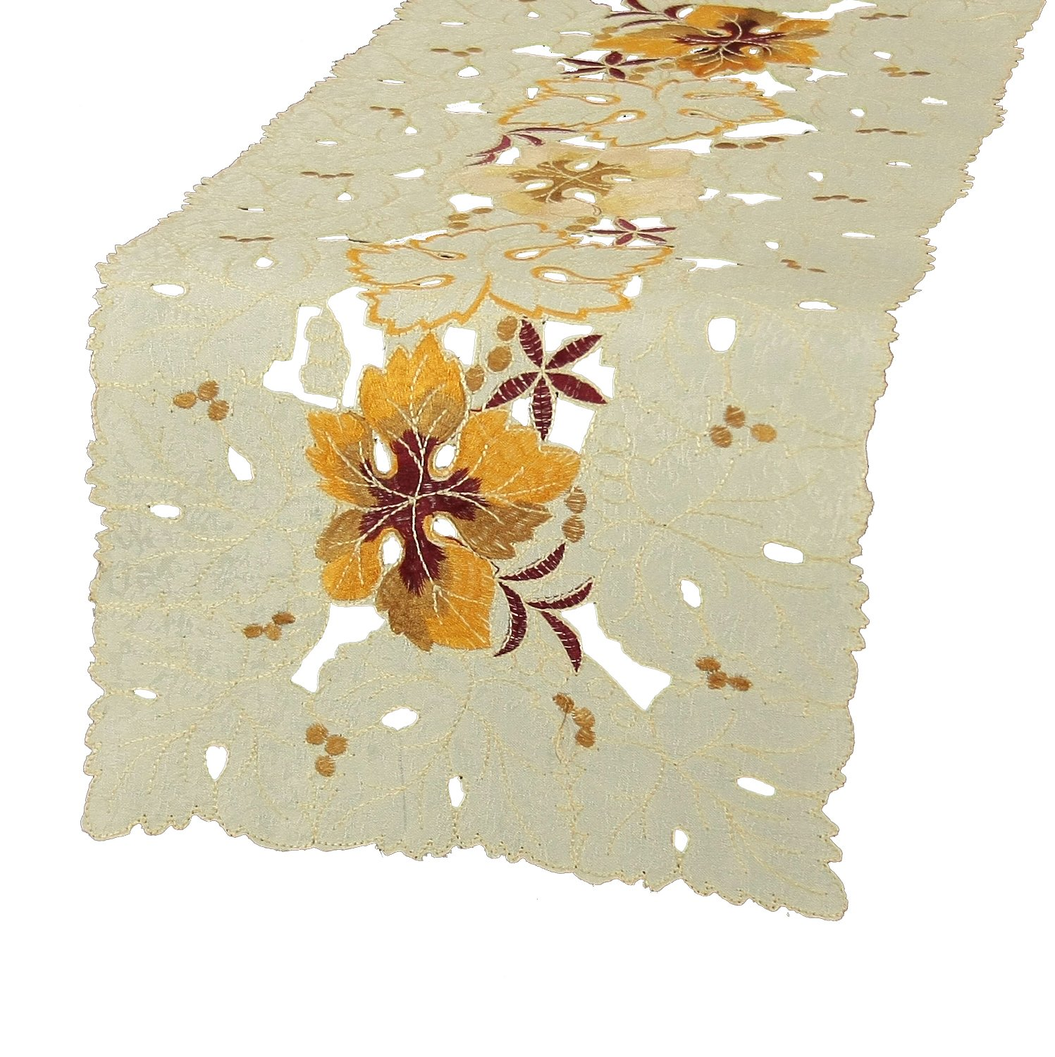 Xia Home Fashions Autumn Ambiance Embroidered Cutwork 12 by 28-Inch Fall Table Runner, Mini