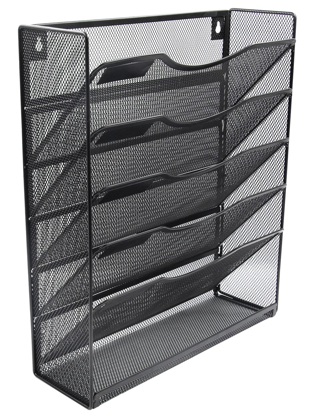 EasyPAG Mesh Wall Hanging File Organizer Holder 5 Tier Vertical Pocket Magzine Rack with Tray,Black by EasyPAG