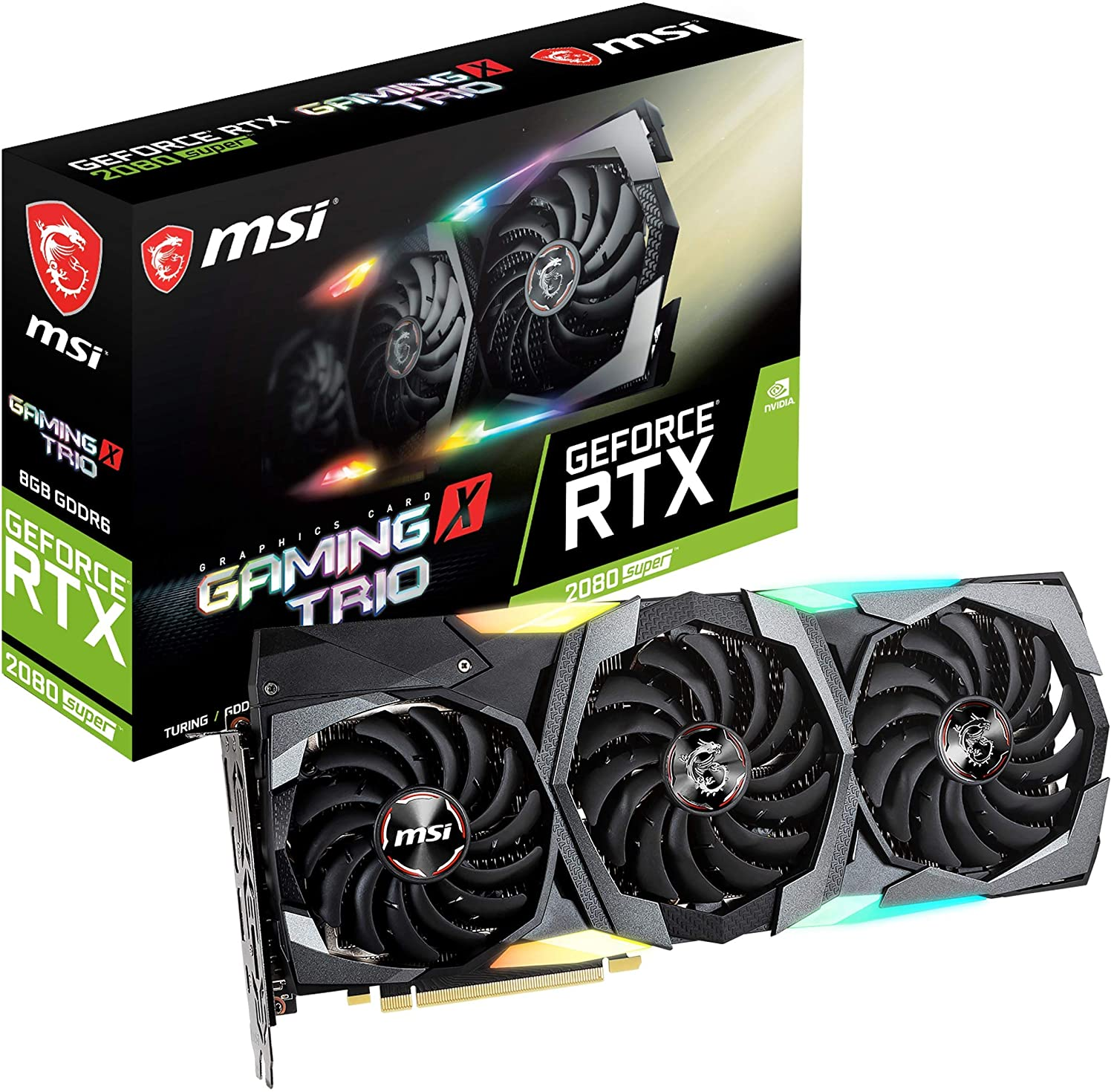 MSI Gaming GeForce RTX 2080 Super 8GB GDRR6 256-Bit HDMI/DP Nvlink Tri-Frozr Turing Architecture Overclocked Graphics Card (RTX 2080 Super Gaming X Trio) (Renewed)
