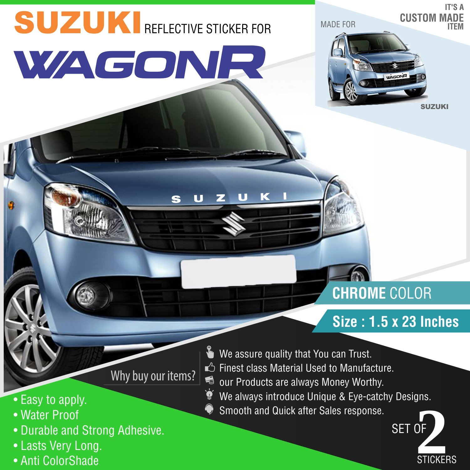 Carmetics suzuki reflective sticker for wagon r front and rear chrome vinyl amazon in car motorbike