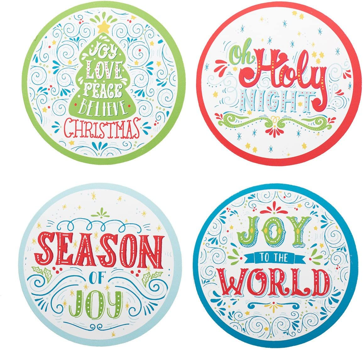 Christmas Drink Coasters in Assorted Holiday Designs  Round  Set of 8