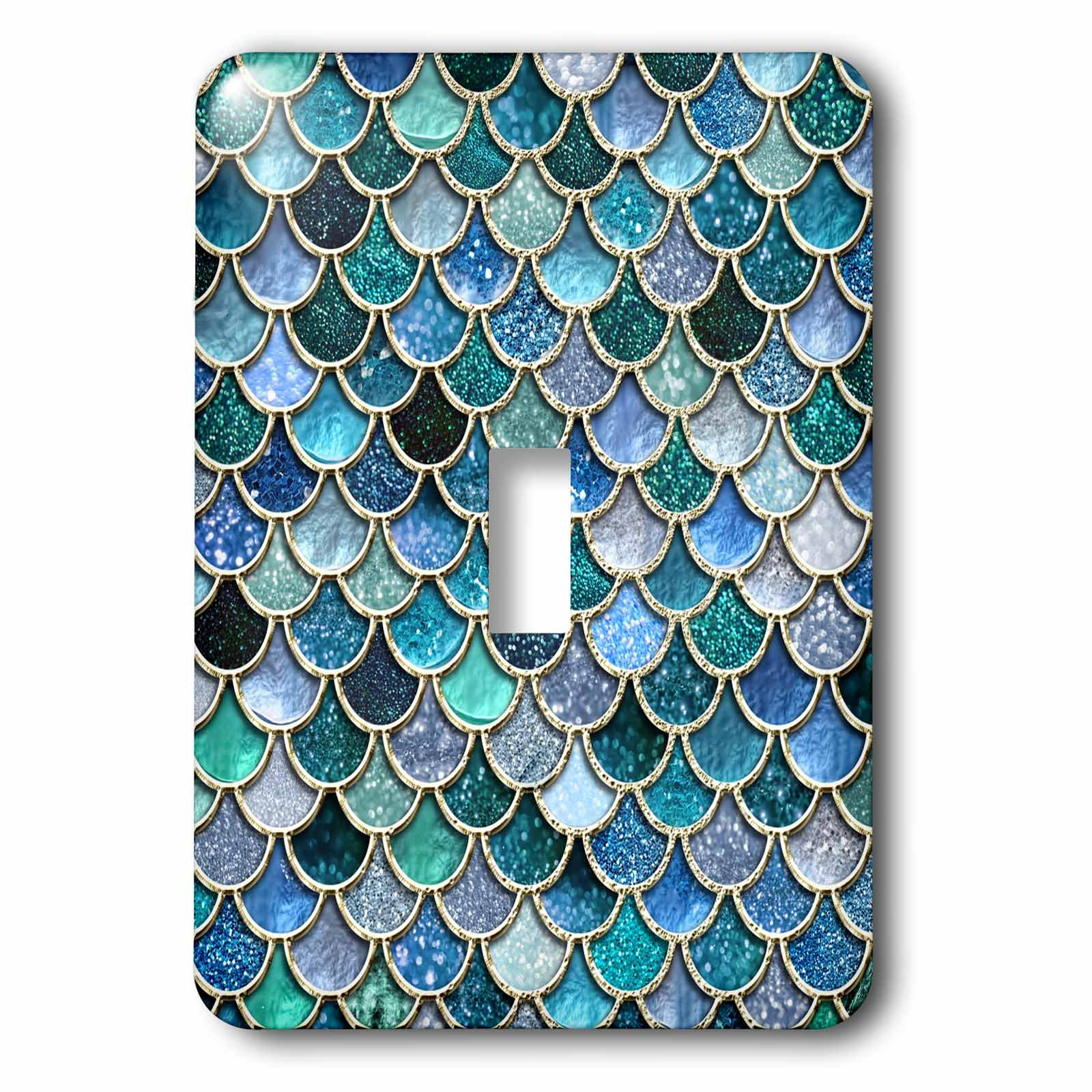 3dRose lsp_272862_1 Multicolor Trend Blue Luxury Elegant Mermaid Scales Glitter Toggle Switch, Mixed by 3dRose (Image #1)