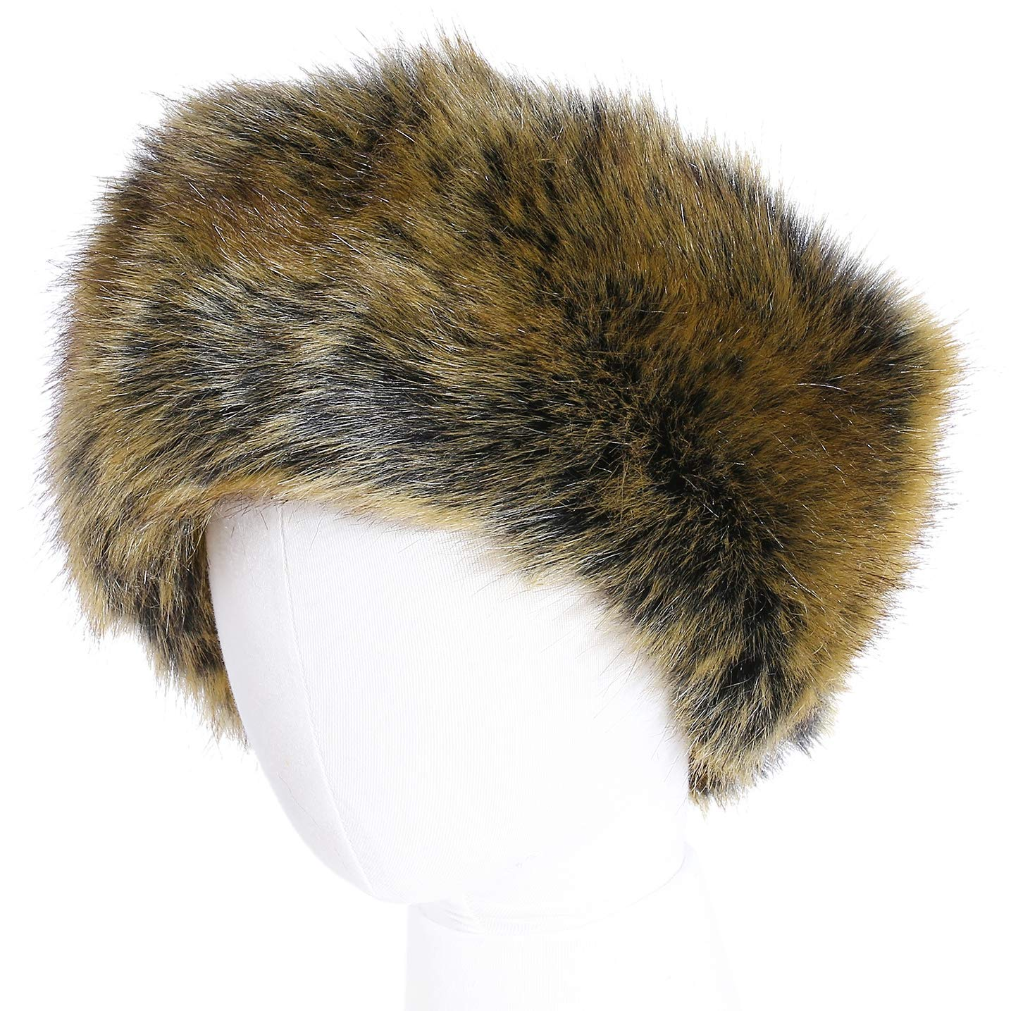 FFaux Fur Headband with Elastic for Women's Winter Earwarmer Earmuff (one size,Brown)