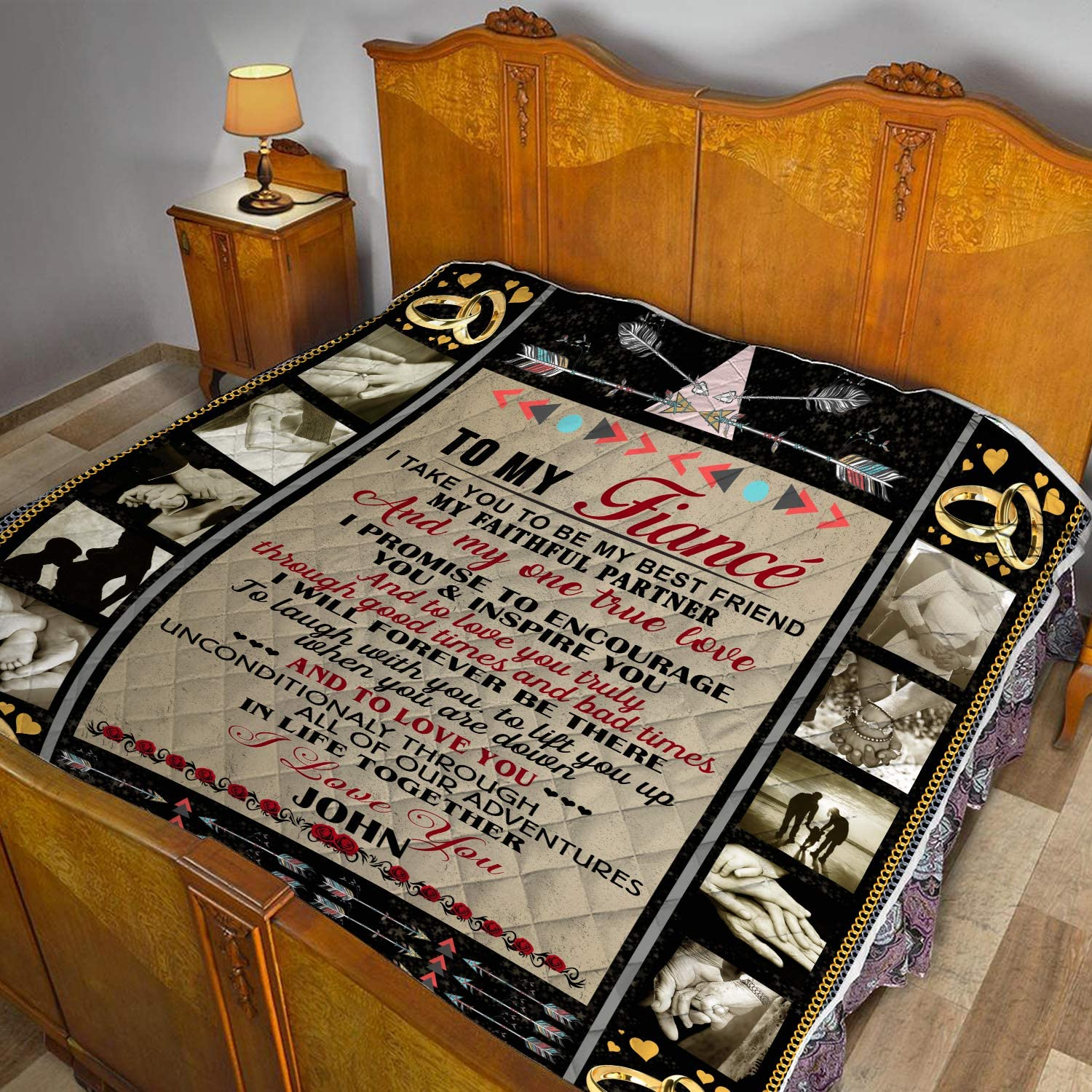 VTH Global Personalized Custom to My Fianc/ée Quilt Blankets Customized Christmas Birthday Wedding Anniversary Engagement Custom Fiancee Gifts from Electrical Journeyman Lineman Husband Fiance